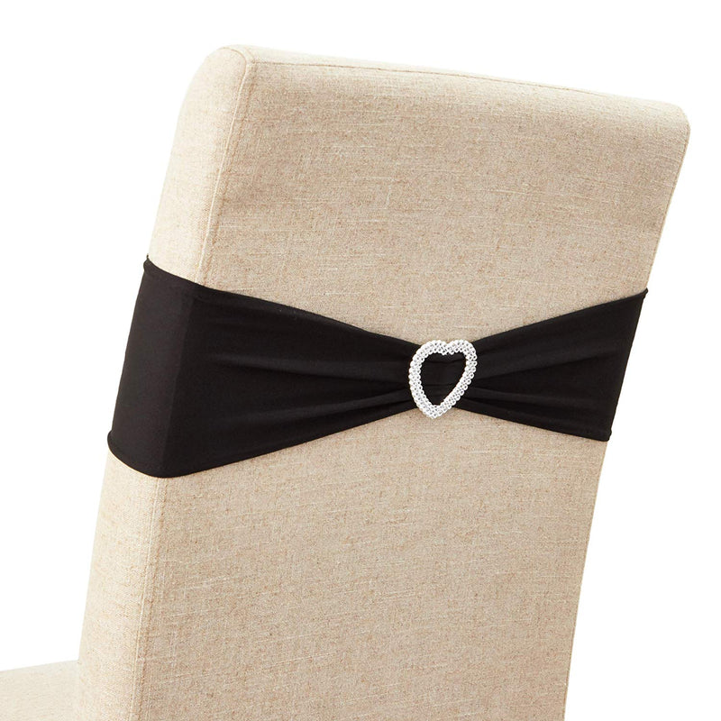 Wedding Chair Slipcovers (6 x 14 in, Black, 100 Pack)