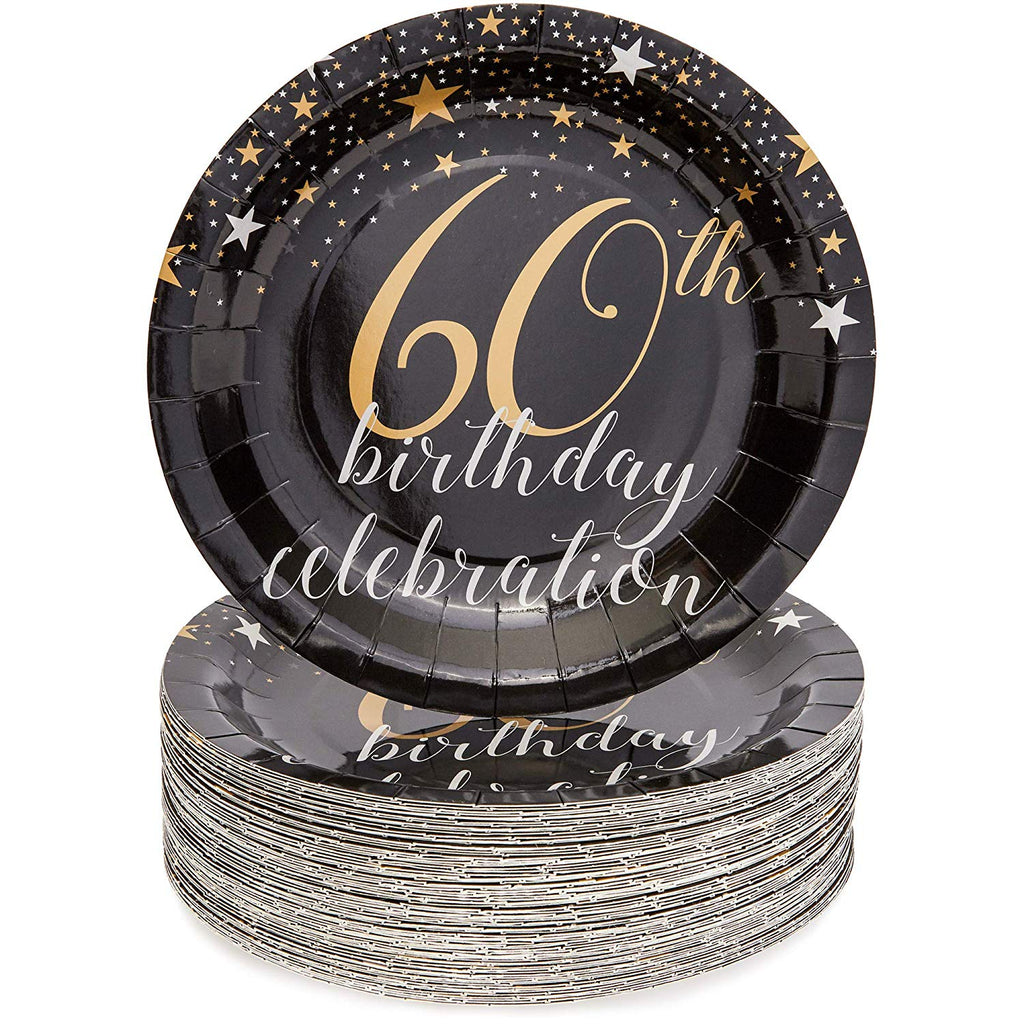 60th Birthday Paper Plates (80 Count), 9 Inches