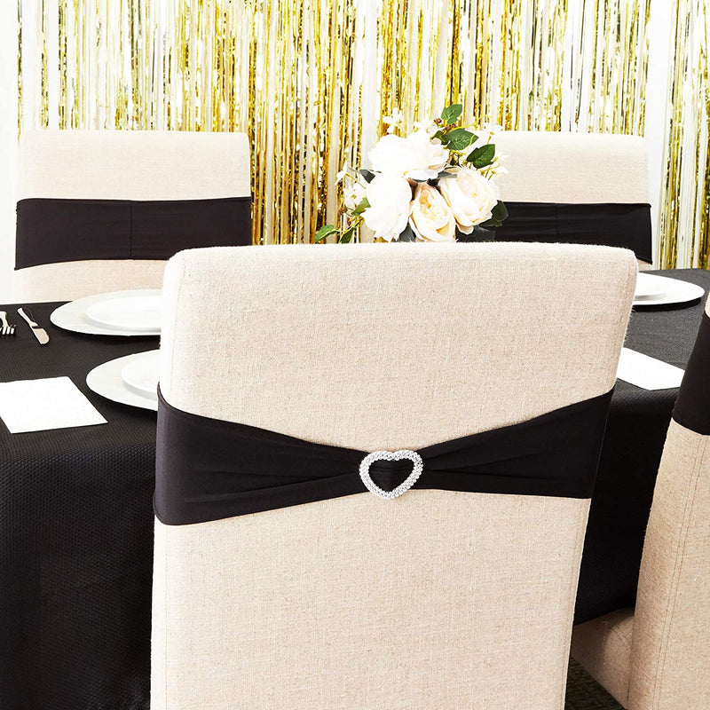 Wedding Chair Slipcovers (6 x 14 in, Black, 50 Pack)