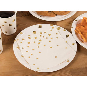 Disposable Dinnerware Set for 24  - Gold Foil Square Cutlery Party Supplies