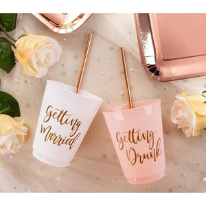 "Plastic Party Cups - 15-Pack Reusable Tumblers, 16-Ounce Bride Tribe Plastic Cups, Bachelorette Party Essentials, Bridal Party Supplies, ""Getting Married"" and ""Getting Drunk"" Designs, Pink and White,"