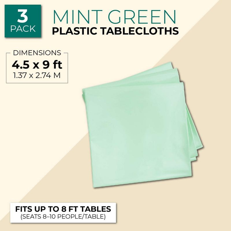Sparkle and Bash Mint Green Plastic Rectangle Party Table Cloth Cover (3 Pack)