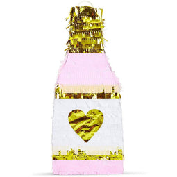 Champagne Bottle Party Pinata with Gold Foil (Pink, White, 16.5 x 7 x 3 Inches)