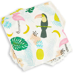 Tropical Paper Napkins for Birthday Party (6.5 x 6.5 In, 100 Pack)