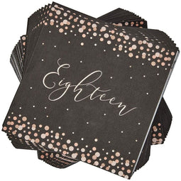 18th Birthday Napkins with Rose Gold Polka Dots (6.5 x 6.5 In, Black, 100 Pack)