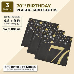 3 Pack 70th Birthday Party Tablecloth Table Cover for Men Women, 54 x 108""
