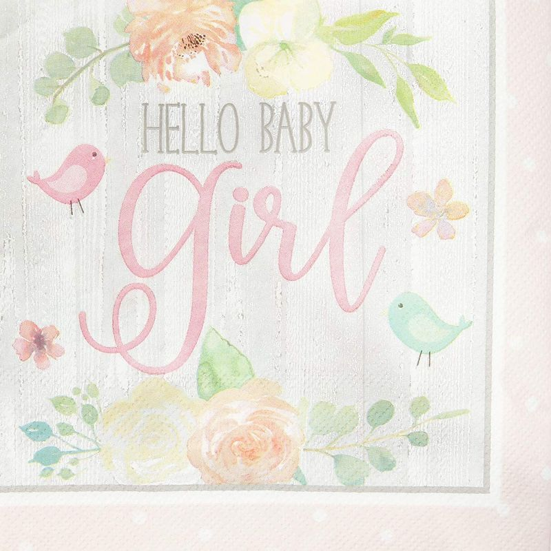 "100Pcs Hello Baby Girl Party Paper Napkins 6.5"" for Baby Shower Decorations"