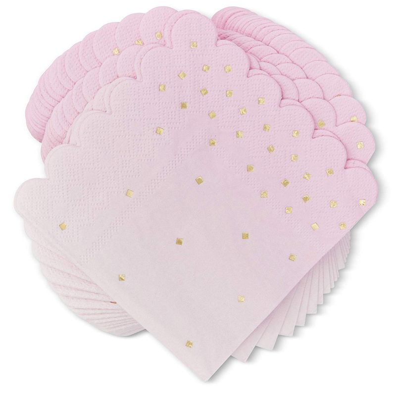 100x Ombre Pink Party Napkins with Gold Foil Confetti for Birthday 4 colors 5 in