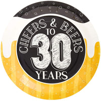 "80Pcs Cheers & Beers to 30 Years Birthday Party Paper Plates 9"" for Lunch Dinner"