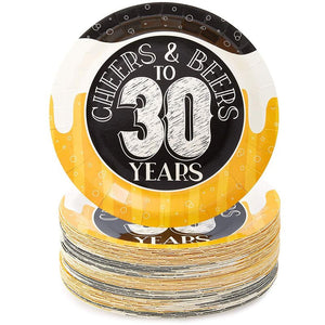 Sparkle and Bash Cheers & Beers to 30 Years Birthday Plates, 80 Pack, 9 in