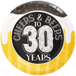 Cheers & Beers to 30 Years Paper Plates for 30th Birthday Party (7 In, 80 Pack)