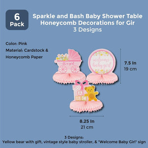Sparkle and Bash Baby Shower Table Honeycomb Decorations for Girl (6 Pack) 3 Designs