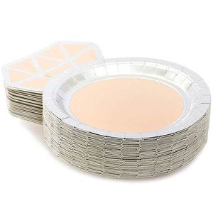 Sparkle and Bash Paper Party Plates with Die-Cut Diamond Ring (48 Pack, 7 x 9 in.)