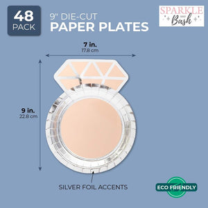 "48Pcs Diamond Ring Party Paper Plates 9"" x 7"" for Bridal Showers and Engagements"