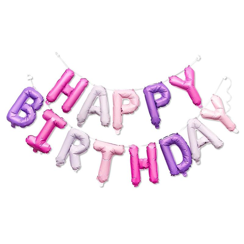 "Happy Birthday Pink & Purple Letters 16"" Balloons Banner for Party Decorations"