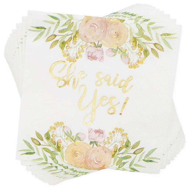 Bridal Party Pack, Includes Paper Plates, Napkins, Cups, Cutlery, Banner, and Plastic Tablecloth (Serves 24, 146 Pieces)
