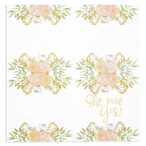 50x She Said Yes Disposable Paper Napkins for Bridal Showers, Luncheon Napkins