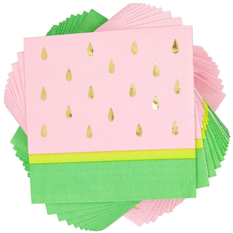 50x Watermelon Themed Disposable Paper Party Napkins for Kids Birthday, 5.5 inch