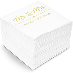 Mr & Mrs Paper Napkins with Gold Foil Details for Weddings (5 x 5 In, 100 Pack)