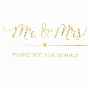 100x Mr & Mrs Gold Foil Cocktail Napkins for Weddings Party, white 5 inch, 3 Ply