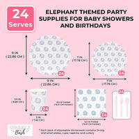 Serves 24 Elephant Themed Baby Shower Party Supplies Decorations for Kids