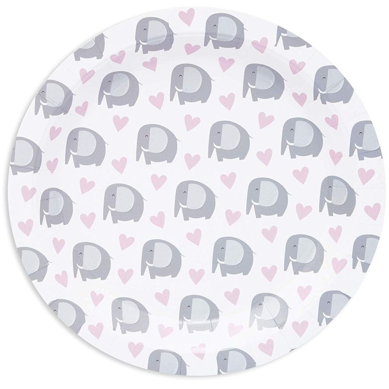 "80Pcs Cute Elephant and Heart Disposable Paper Plates 9"" for Girls Baby Shower"