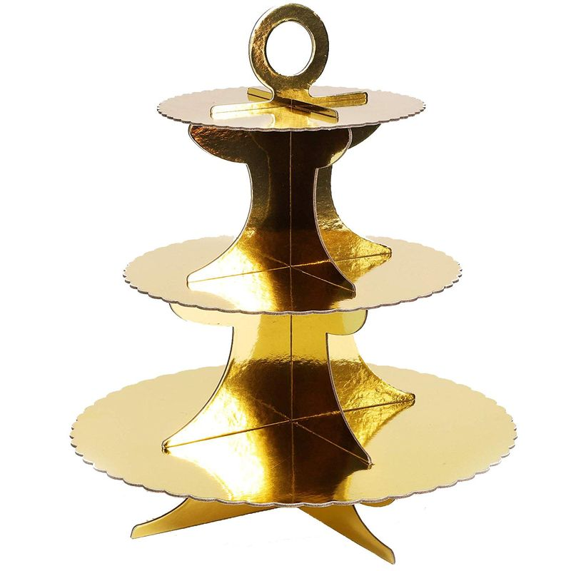 3Pcs 3-Tier Cardboard Cupcake Stand Tower Dessert Treats Holder Gold Foil