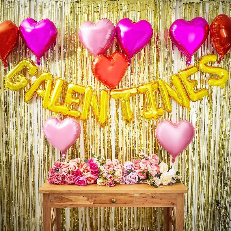 Galentine's Balloons and Hearts for Valentine's Party Decor (4 Colors, 19 Pack)