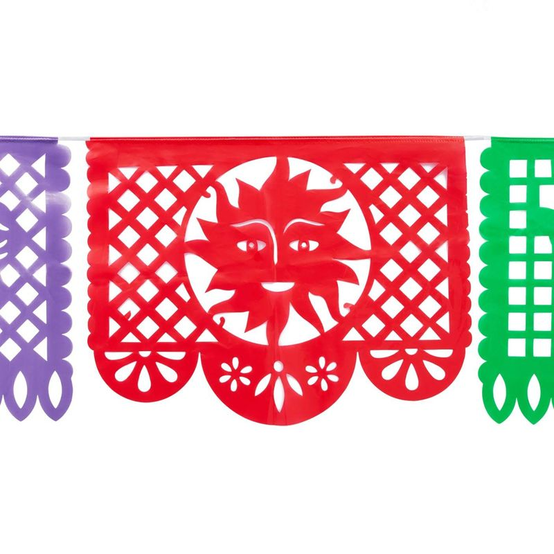 Mexican Papel Picado Banner (15 ft, 9 Colors, 2 Pack)