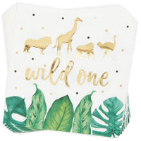 Serve 24 Wild One Safari Jungle Animal Baby Birthday Party Supplies Plate Napkin