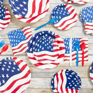 American Flag Paper Plates, and Napkins (Serves 20, 200 Pieces)
