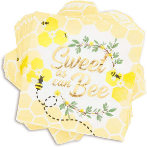 Bumble Bee Party Dinner Napkins for Baby Showers (5 in, 50 Pack)