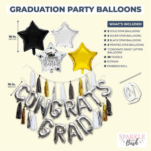 2021 Graduation Party Decor, Congrats Grad Balloon Garland (21 Pieces)