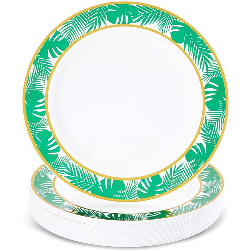 24 Disposable Plastic Dinner Plates, Hawaiian Luau Summer Tropical Party 9 in.