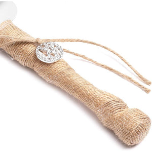 Rustic Burlap Wedding Cake Knife and Server Set for Party Decoration, Gift Idea