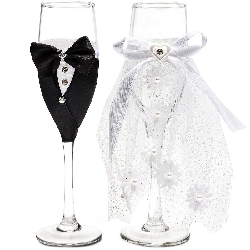 Bride and Groom Champagne Flutes, Wedding Dress Tuxedo Toasting Glasses Gift Set