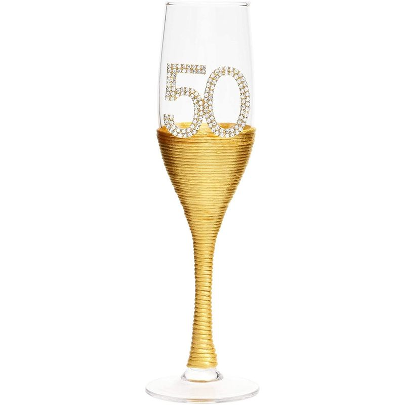 Gold 50th Anniversary Champagne Flutes (Set of 2)