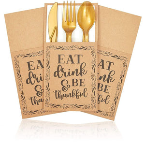 Sparkle and Bash Thanksgiving Utensil Holder Pockets (36 Pack), Kraft Paper