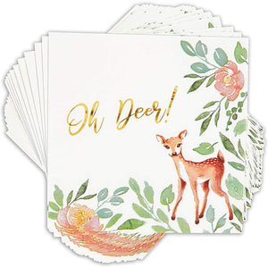 50 Paper Napkins Oh Deer Floral Girl Baby Shower 1 First Birthday Party Supplies