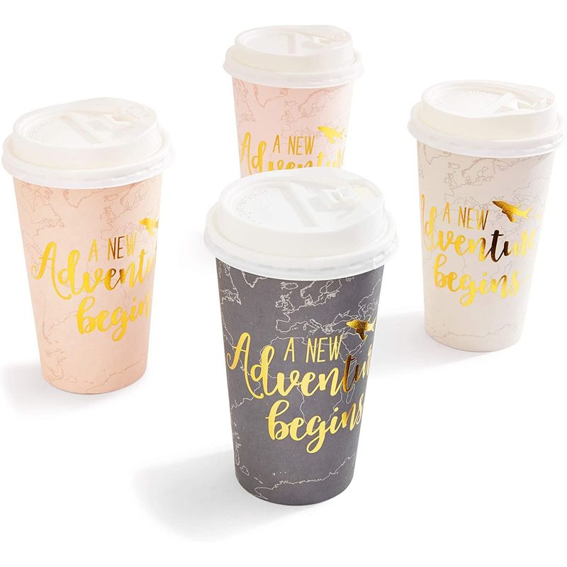 48-Pack Insulated Coffee Cups with Lids Disposable, Gold Foil Print (16 oz each)