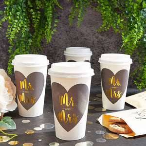 Mr and Mrs Paper Insulated Coffee Cups with Lids (16 oz, 48 Pack)