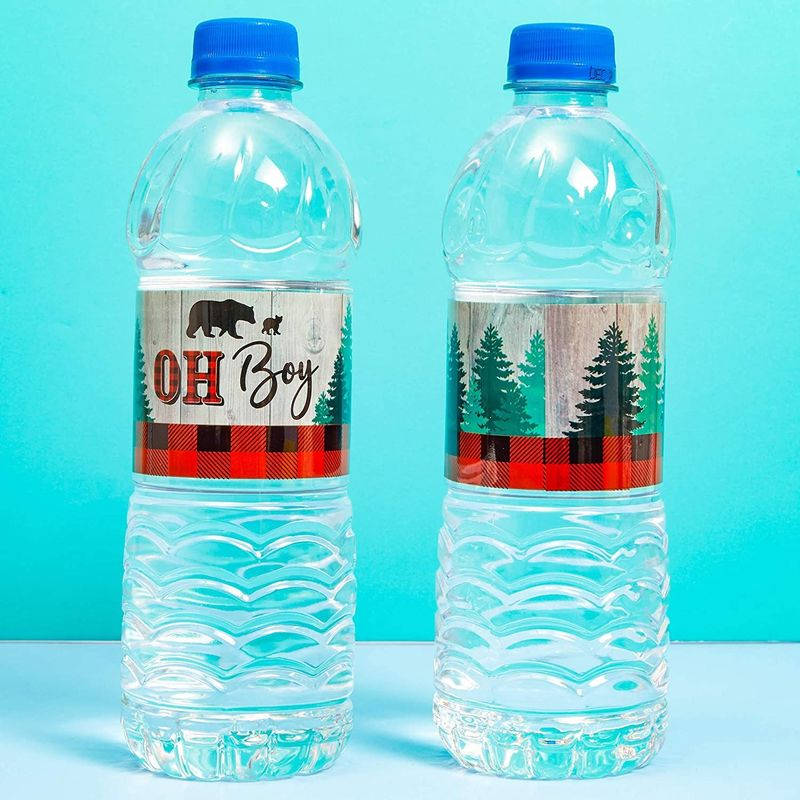 Oh Boy Lumberjack Water Bottle Labels (100 Pack)