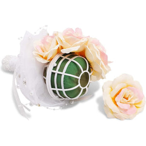 Foam Bouquet Holder with Lace Handle for Wedding Bridal Floral Artificial Flower