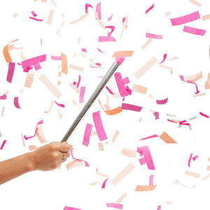 5pcs Pink Confetti Wand Flick Flutter Stick for Girl Baby Shower, Gender Reveal