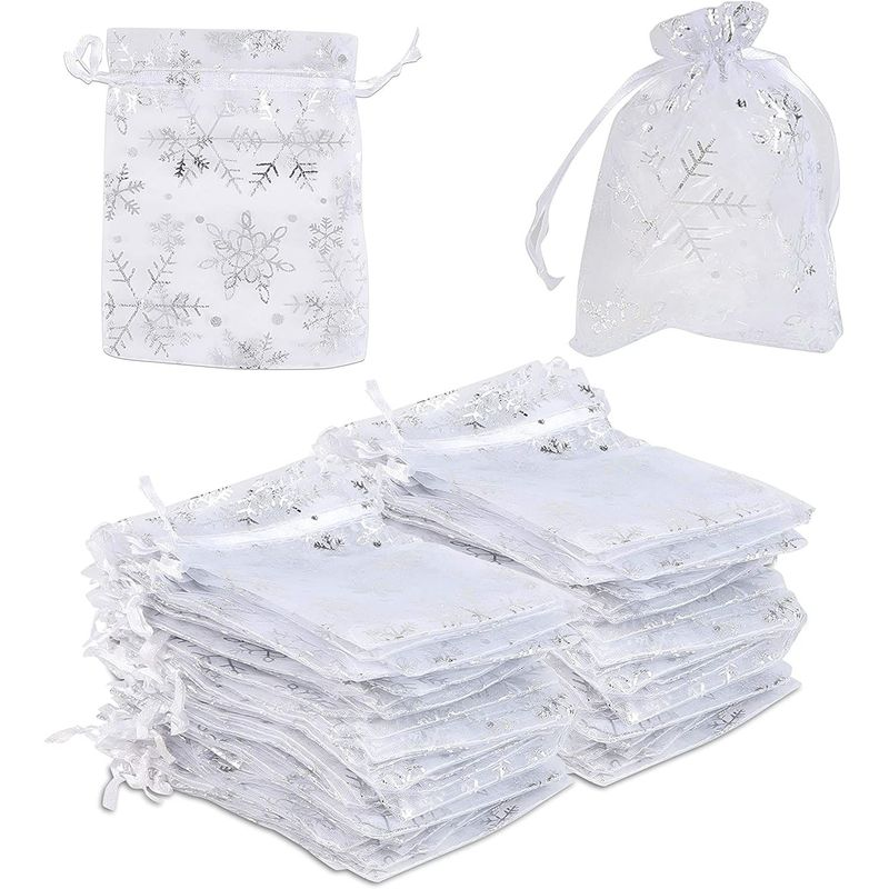 Small Organza Bags, Snowflake Decorations (Silver, 3.5 x 4.7