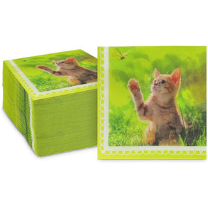 Kitten Paper Napkins for Cat Birthday Party (Green, 6.5 Inches, 150 Pack)