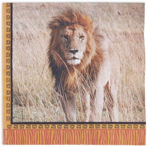 Safari Birthday Party Paper Napkins with Lions (6.5 x 6.5 Inches, 150 Pack)