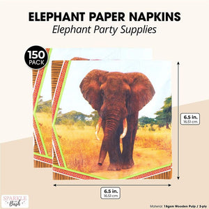 Safari Birthday Party Paper Napkins with Elephants (6.5 x 6.5 Inches, 150 Pack)