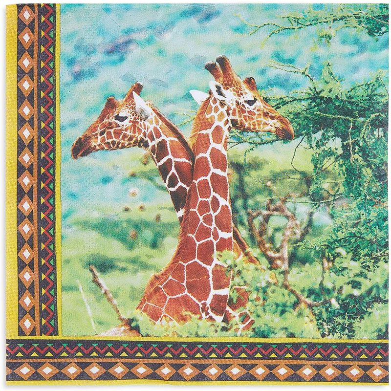 Safari Birthday Party Paper Napkins with Giraffes (6.5 x 6.5 Inches, 150 Pack)