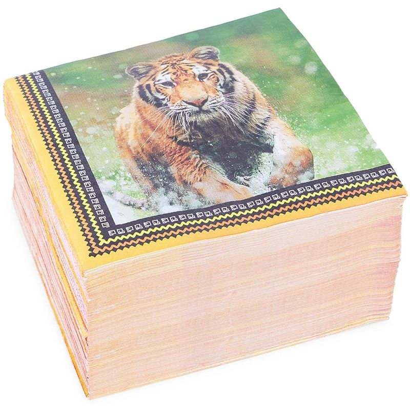 Safari Birthday Party Paper Napkins with Tigers (6.5 In, 150 Pack)